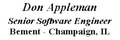Don Appleman, Software Engineer
